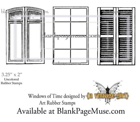 Windows of Time Vintage Window & Shutters Art Rubber Stamps Set designed by A Vintage Girl BPMVGWin