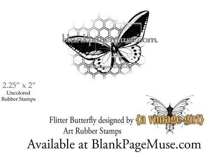 """""""Flitter"""" Butterfly against a Honeycomb Background Art Rubber Stamp BPMVGButter"""